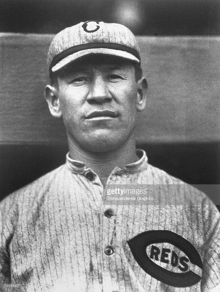 Cincinnati Reds outfielder Jim Thorpe poses for a portrait in the Polo Grounds in New York in 1917.