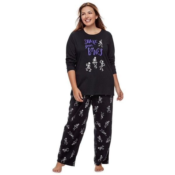 "Plus Size Women's Plus Jammies For Your Families ""Shake Your Bones\""... ($30) ❤ liked on Polyvore featuring oxford, plus size and plus size two piece"
