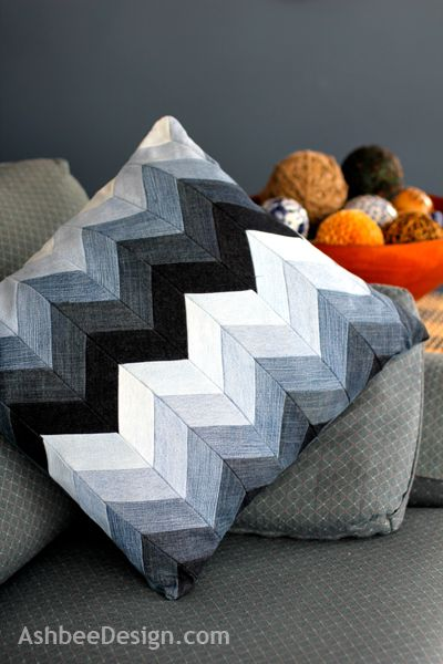 Ashbee Design: Chevron Pillow from Beloved Old Jeans • DIY Going to make a quilt