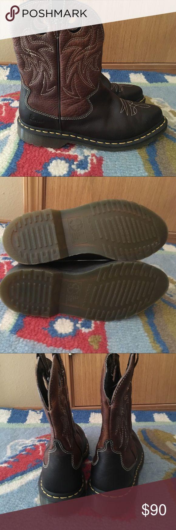 Dr. Martens cowboy short boot Brown leather with cowboy stitching. Size says 39 EU  -  8 US   L Dr. Martens Shoes