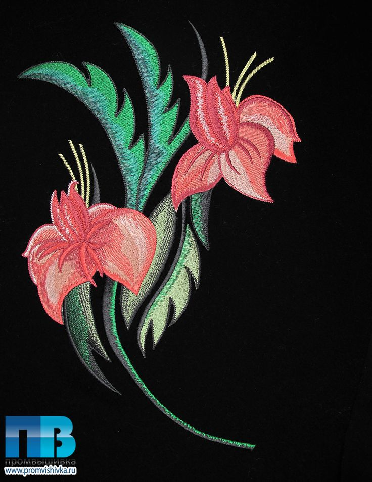 Вышивка цветов на ткани