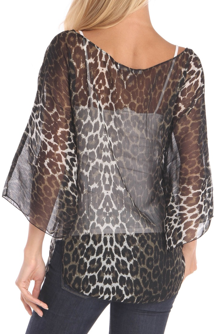 Sheer Animal Print Top - great way of making this sheer top more attractive! #fashion #color