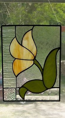 Tulip-stained-glass-window-panel-flower-suncatcher-art-deco-handcrafted-usa