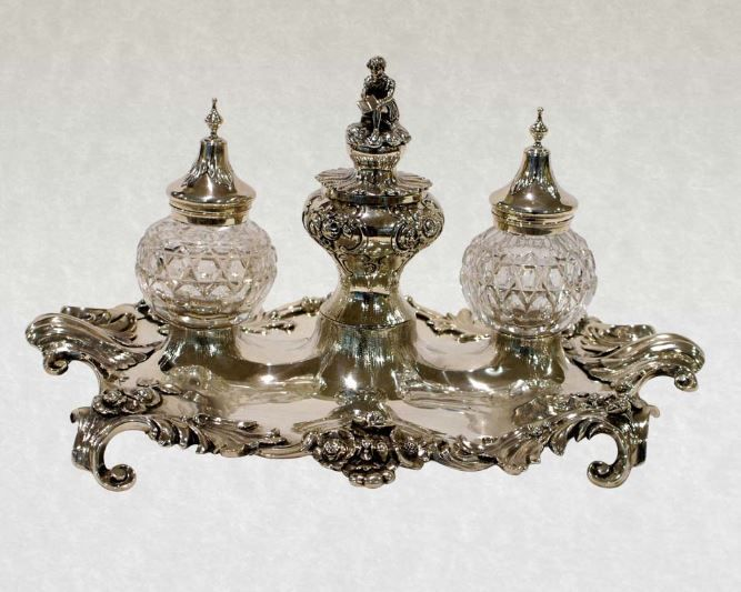 Antique Victorian Silver Inkstand