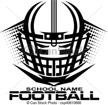 Vector - football helmet with facemask - stock illustration, royalty free illustrations, stock clip art icon, stock clipart icons, logo, line art, EPS picture, pictures, graphic, graphics, drawing, drawings, vector image, artwork, EPS vector art
