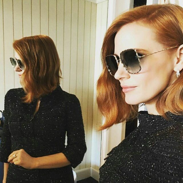 Pin for Later: Bid Adieu to Cannes Style by Taking a Look at These BTS Snaps Jessica Chastain Showed Off Her Shades