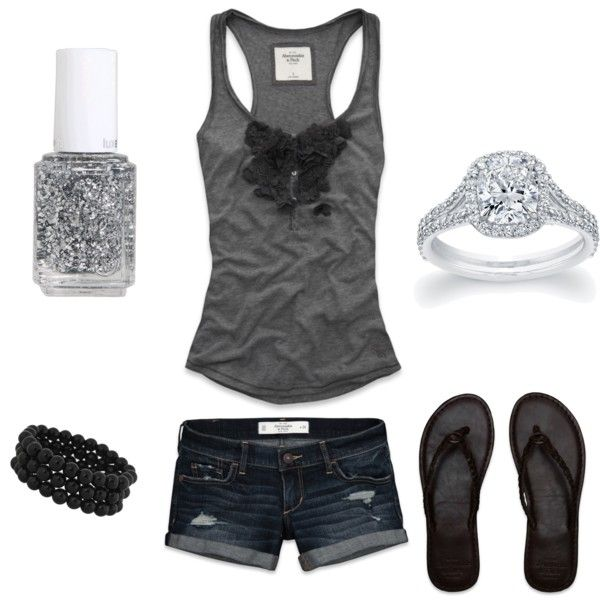 Summer Outfit: Outfit Summer, Brown Leather, Fashionista Trends, Flip Flops, Cute Summer Outfits, Gray Tanks, Denim Shorts, Teens Summer Outfit, Summer Clothing