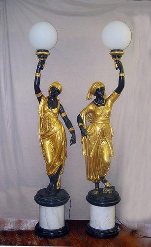 French Bronze Empire Nubian Candelabras Blackamoors Life