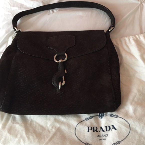 NWOT Prada Logos Shoulder Bag in Dark Brown Suede NWOT Authentic ...