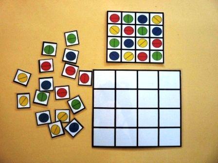 Recurso que utiliza dibujos aparentemente iguales, círculos, que se diferencian en el color y en la dirección de la diagonal que los divide. … Leer más
