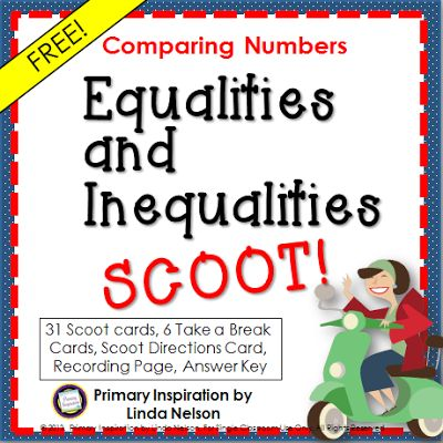 Scoot Game for Comparison Signs  Hi Teaching Friends!Everybody loves Scoot! Here's a free game for practicing comparing expressions using greater than less than and equal signs. Check out the post for five ways to get more miles out of every set of Scoot cards that you print!  Happy Teaching!  greater than and less than Linda Nelson math meaning of equal sign PreK--2 Primary Inspiration Scoot