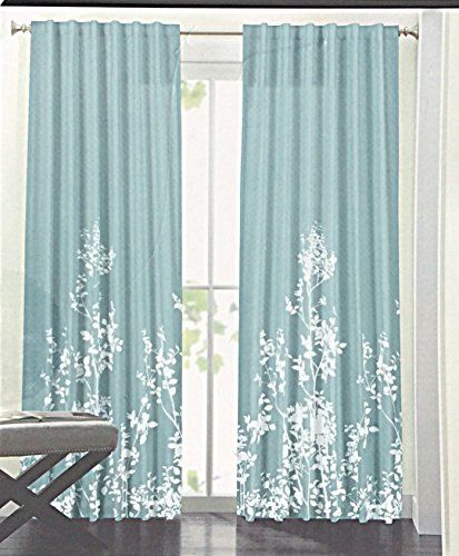 Hillcrest Window Curtains Floral Border Print Turquoise White Leaves Silhouette Floral Garden