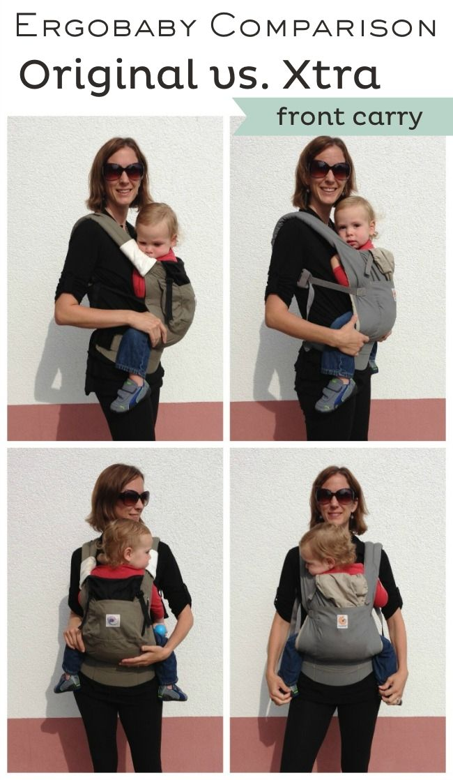 Ergo Carrier and Ergobaby Xtra Carrier Front Carry Comparison