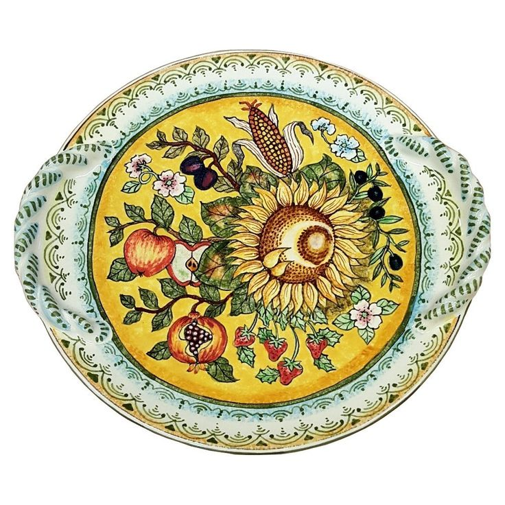 CERAMICHE D'ARTE PARRINI - Italian Ceramic Art Flat Centerpiece Plate Pottery Decorated Sunflower Hand Painted Made in ITALY Tuscan. Ceramic Flat Centerpieces . Decorations : Sunflowers, corn, olives and fruit on a yellow, green curls frame, antique green rim.-Net weight Kg.2,000 Dimensions (15,96 Inch) x (14,17 inch)--By purchasing directly from the manufacturer of Tuscan craft, you can ask if you want, any other customization, or you can buy now so as you see in the picture and you will…
