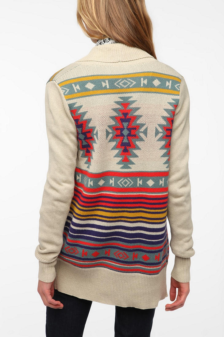 Tribal Sweater, Urban Outfitters, Long Sweaters, Aztec Prints, Fall Sweaters, Tribal Cardigan, Intarsia Cardigans, Tribal Prints, Aztec Sweaters