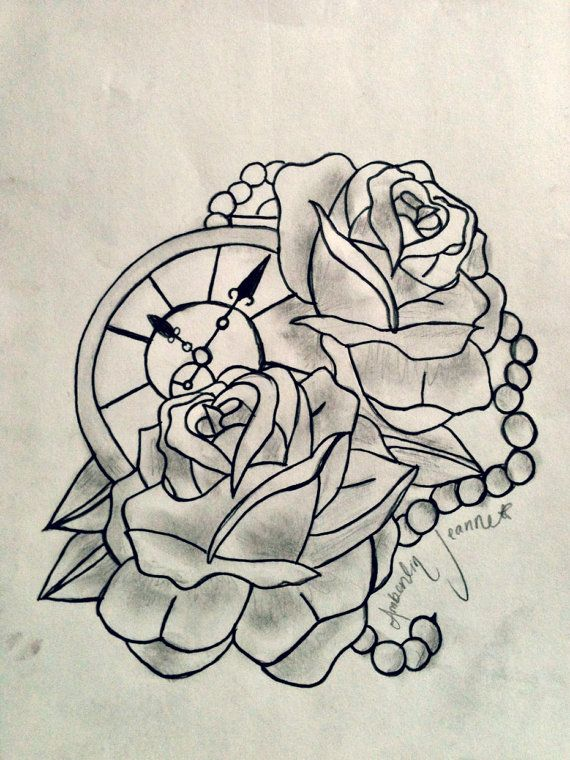 Tattoo Outlines For Girls: Compass And Rose Tattoo, Maybe Change The Pearls To Rope