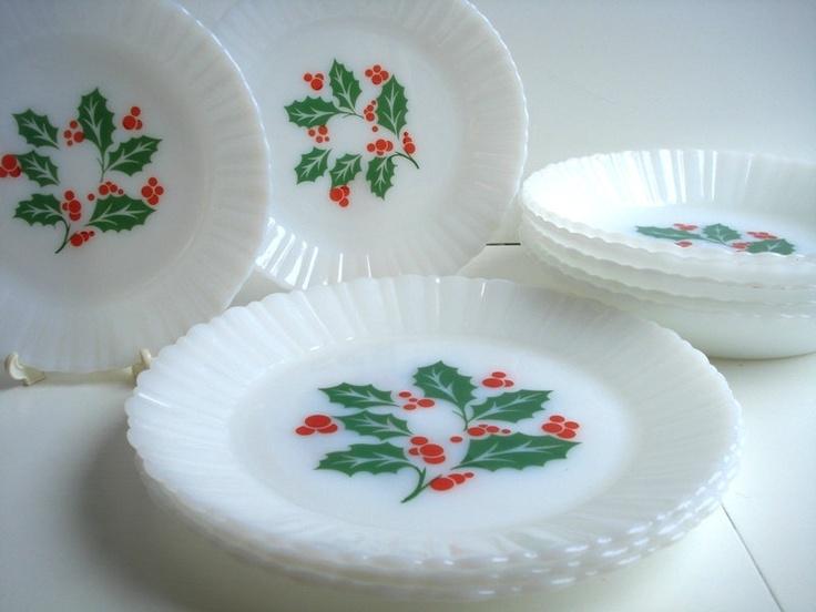 Vintage christmas dinnerware milk glass termocrisa