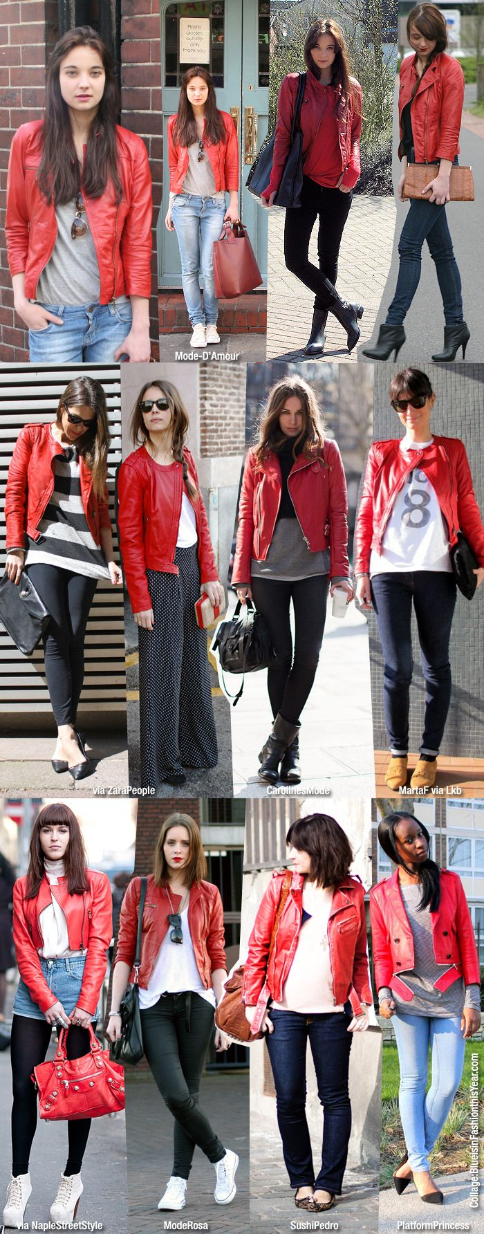 My jacket it red- so pair it with boring colours- dark pants and white top or light jeans and grey. flats, boots or flat sneakers