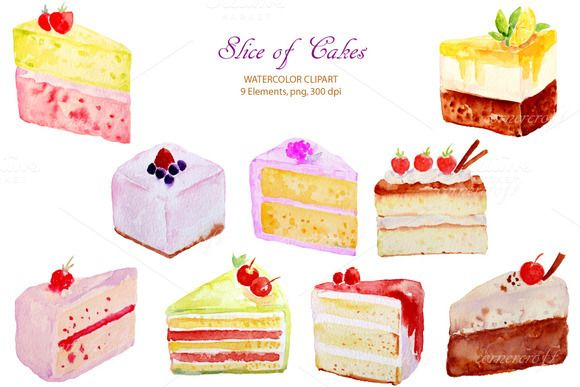 $6. Watercolor Cake Slices by Corner Croft on @creativemarket
