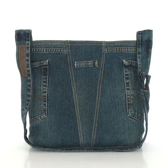 Recycled cross body bag , dark blue denim shoulder bag , Eco friendly jean school tote bag , vegan crossover bag for men and women