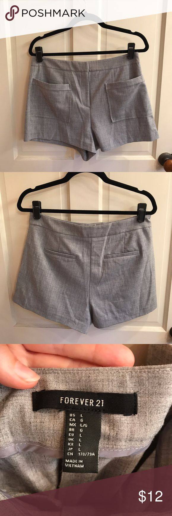 Forever 21 Grey Dress Shorts Grey dressy shorts from Forever 21. Perfect for a night out or for business attire. Size large. Very soft comfortable material. Brand new and never worn but tags are not attached. Forever 21 Shorts