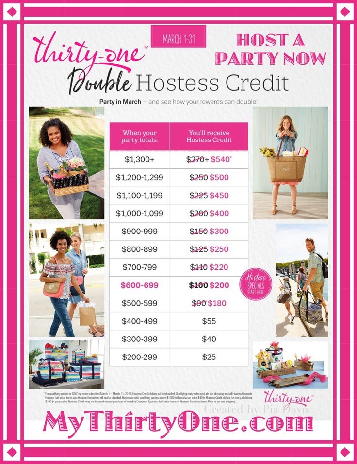 #31 DOUBLE HOSTESS CREDIT... Thirty-One Gifts... March 2018... What will you pick for FREE?... Crossbody Organizing, Sand N' Shore Thermal, Quick Cinch Thermal, Your Way Display, Cube & Rectangles. STUDIO Thirty-One, Retro Metro Hobo, City Chic Bag, Little Dreamer, Demi Day, Organizing Shoulder, Around Town, Cindy Tote, Savvy Sleeve, Beach-Ready, Shore Enough, All About the Benjamins, Rubie Mini, 24/7 Case, Glamour Case, Super Swap-It Pocket, Fold-Up Family Organizer & Hanging Travel...