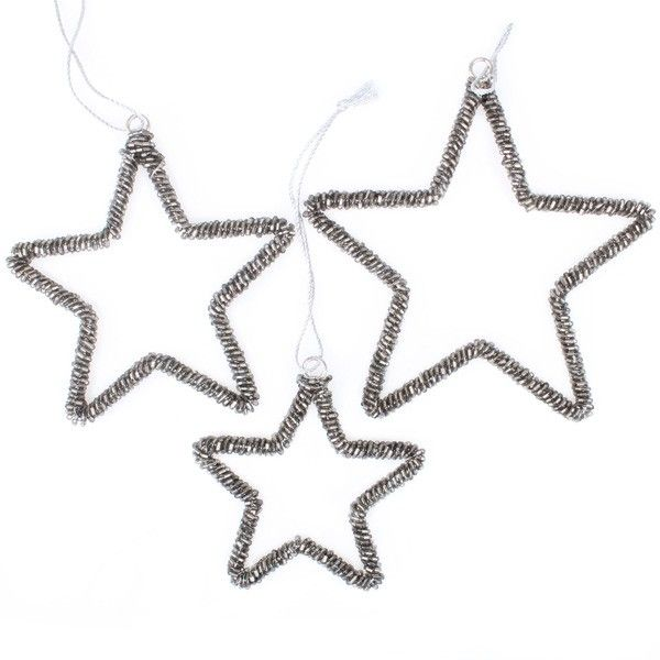 Charcoal Beaded Star Decorations - Set of 3