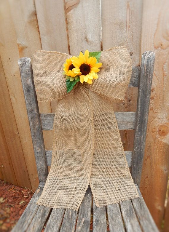 Burlap and Sunflower Bows Pew Bows Burlap Wedding Chair