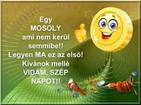 Egy Mosoly ami nem kerül semmibe!  Legyen Ma ez az első! Kívánok mellé Vidám Szép Napot!