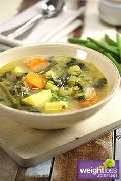 Spring Vegetable Soup Recipe. #SoupRecipes #WeightLossRecipes #HealthyRecipes weightloss.com.au