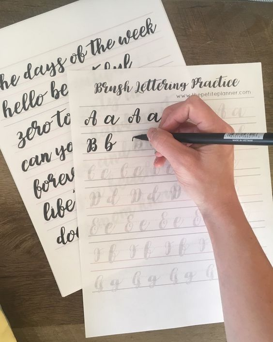 Learn Brush Lettering with These Free Practice Sheets - The Petite Planner