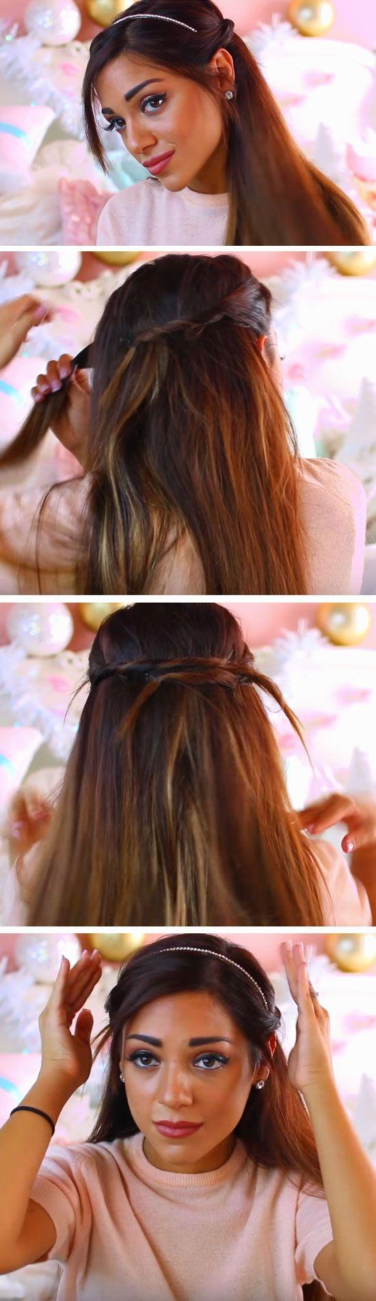 Half-up Twist | 17 DIY Holiday Hairstyles for Medium Hair