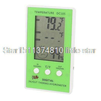 Купить товарБелый зеленый на батарейках помещении на открытом воздухе термометр w гигрометр в категории Термометрические приборына AliExpress.       Название продукта  Цифровой термометр ж гигрометр    Модель  DC105    Мощность  1x1.5 В ААА батареи (не включены)