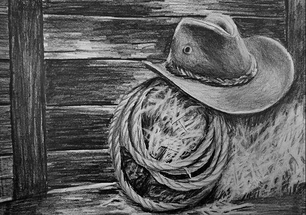 Capture the excitement of the farm and the cowboy lifestyle with this atmospheric still life drawing.  During the class you will learn:  1) How to quickly create a wood effect 2) How to draw the shape of the hat correctly by drawing sunlight effects 3) How to draw a straw effect without having to draw each piece of straw 4) How to draw a rope effect 5) and much more...