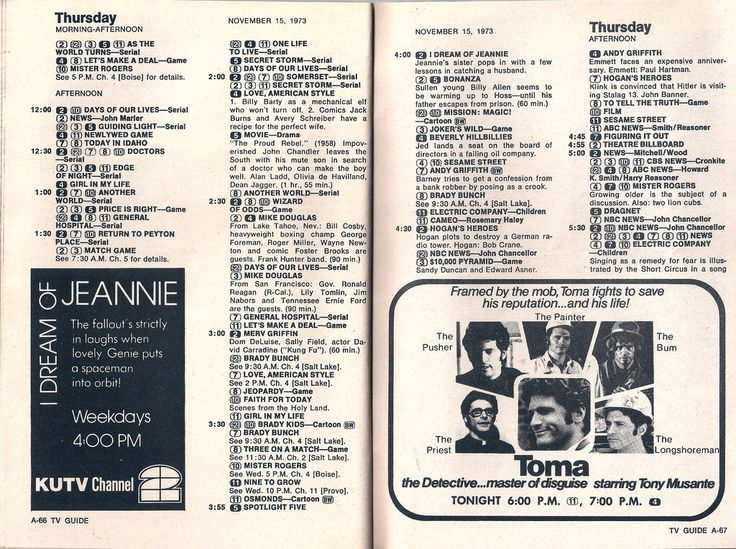6/16/15 228p TV Guide Mag Schedule Grid 11/15/1973 ''Toma