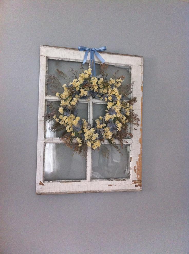 antique window frame and wreath decorating ideas pinterest. Black Bedroom Furniture Sets. Home Design Ideas