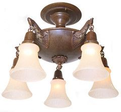 ... Turn of the Century Lighting. See More. from tocl.ca · Antique Circa 1915 5 Light Close Mount Pan Fixture With Large Cast A |  sc 1 st  Pinterest & 290 best Antique u0026 Vintage Lighting Collection images on Pinterest ... azcodes.com