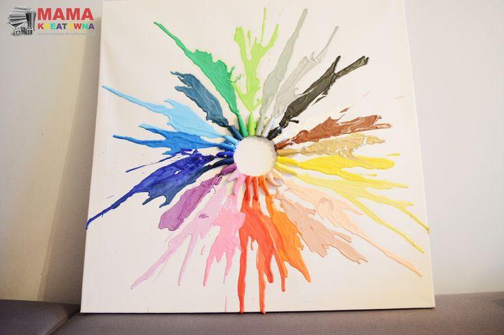 obraz z pasteli DIY zrób to sam krok po kroku obraz z kredek świecowych