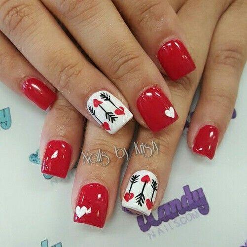 Short acrylic red nails valentines nail art