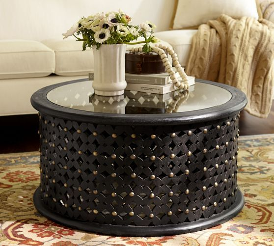 Charming Bamileke Carved Wood Coffee Table   Pottery Barn