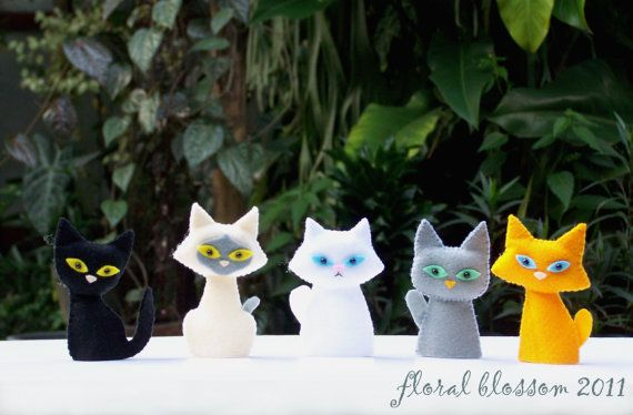 Digital Pattern: Cat Gang Felt Finger Puppets by FloralBlossom