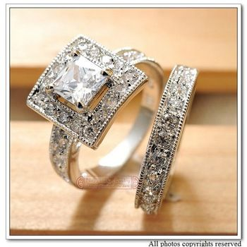 Alloy with18k White Gold Plated, CZ Zirconia Womens Wedding Rings Classic Jewelry 2013 Engagement, Wholesale Free Shipping,WR039