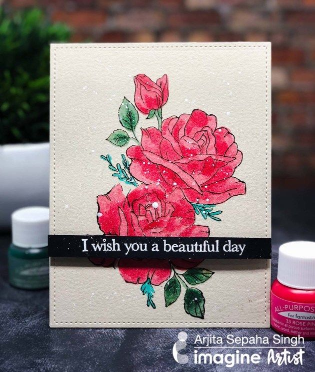 Create A Rose Card With All Purpose Ink And Fantastix With Images