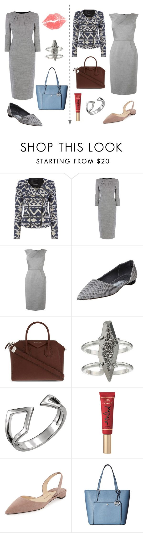 """""""SuYa_smart casual 1"""" by skugge ❤ liked on Polyvore featuring Oui, Karen Millen, L.K.Bennett, Alice + Olivia, Givenchy, Kendra Scott, Wish by Amanda Rose, Too Faced Cosmetics, Paul Andrew and MICHAEL Michael Kors"""