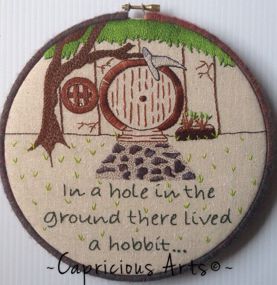 In a Hole in the Ground There Lived a Hobbit... Hand Embroidered Hoop Art on Etsy, $50.00