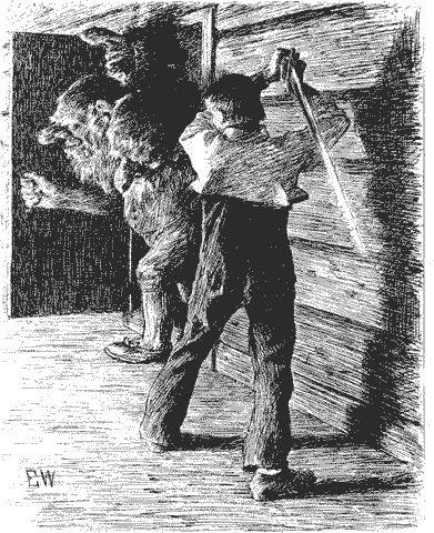 Our hero is choping the head of the horrible troll. Erik Werenskiold, Soria Moria slott, Asbjørnsen & Moe collected norwegian fairy tales