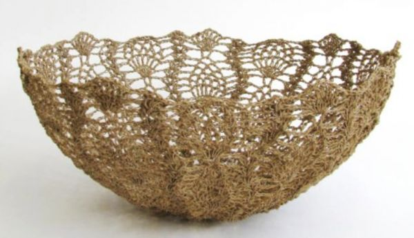 Several crochet designers have work featured next week in the 100% Design expo in Africa; Moonbasket made these #crochet bowls