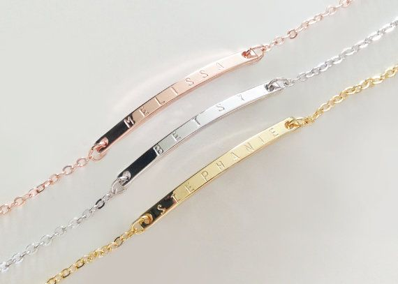 Name Bracelet, Personalized bar bracelet, Bridesmaid Gift, Dainty Name Plate Bracelet,