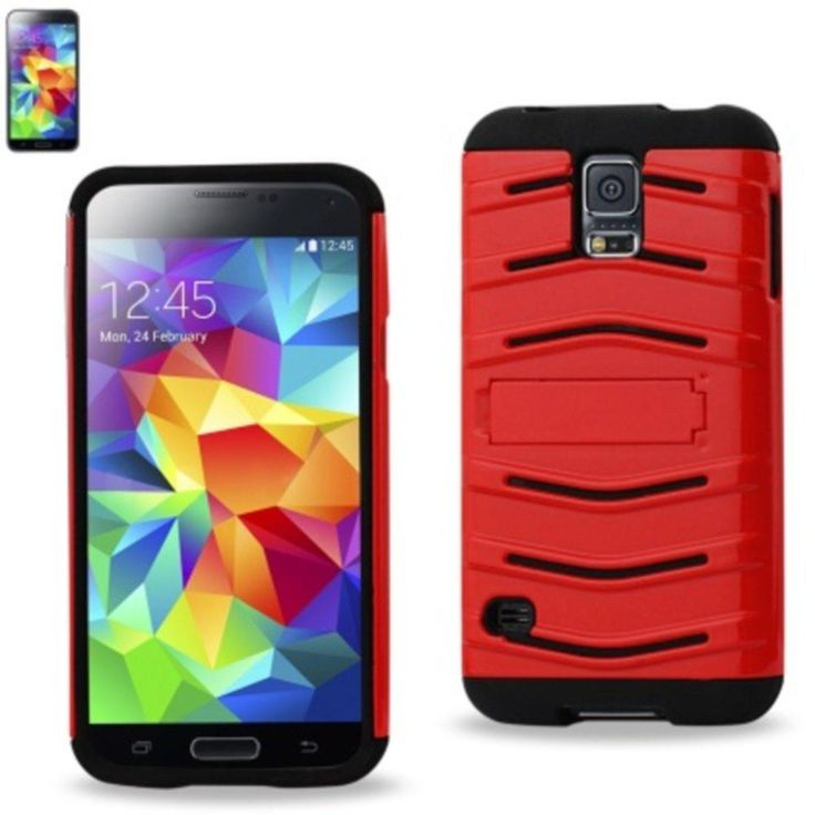 Reiko Fish Bone Pattern Hybrid Case For Samsung Galaxy S5 Black Red With Horizontal Kickstand