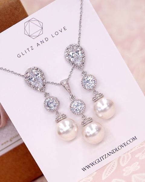 Simple Pearl Earrings Bridal Jewelry Bridesmaid Wedding Gifts